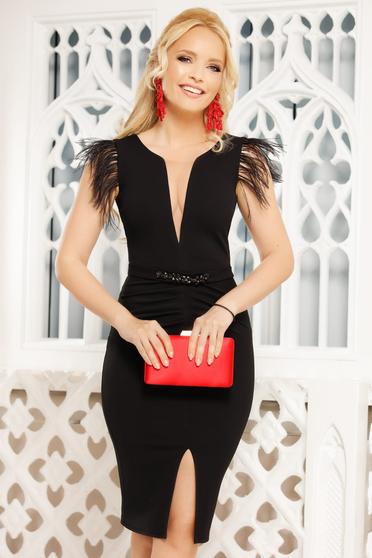 Black dress elegant midi pencil with v-neckline feather details
