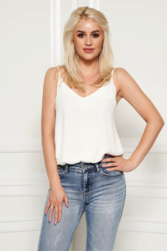 StarShinerS white top shirt casual thin straps adjustable straps with v-neckline