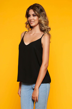 StarShinerS black top shirt casual thin straps adjustable straps with v-neckline