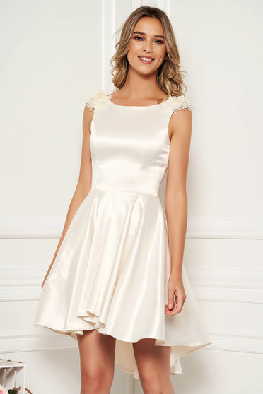 StarShinerS cream occasional asymmetrical short cut sleeveless cloche dress from satin