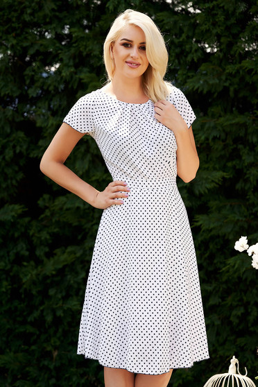 White dress elegant daily dots print with rounded cleavage cloche midi