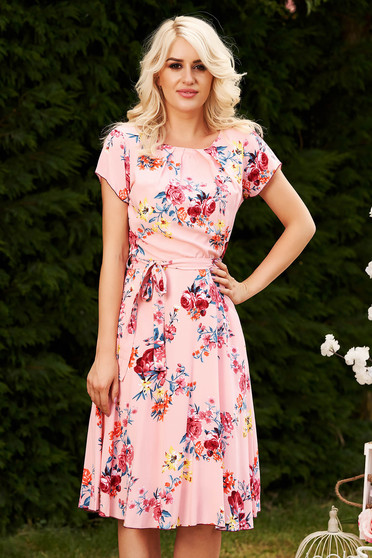 Pink daily midi cloche dress nonelastic fabric with floral print accessorized with tied waistband