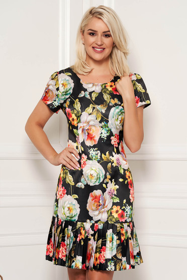 Black elegant daily a-line dress short sleeves nonelastic fabric with floral print
