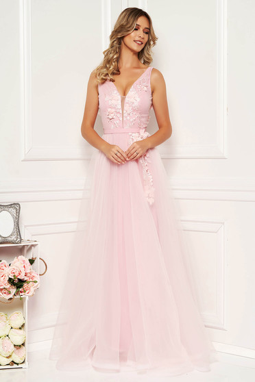 StarShinerS lightpink occasional cloche dress from tulle with deep cleavage with push-up cups with floral details with 3d effect
