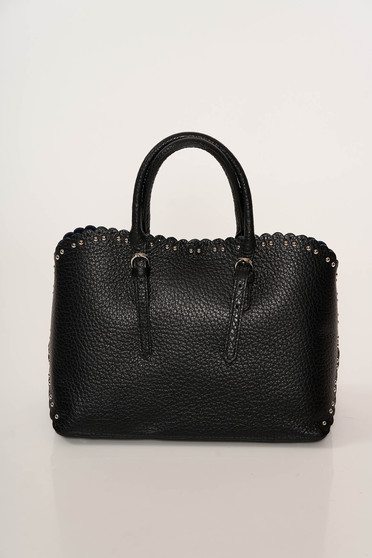 Black office bag natural leather with metallic spikes short handles