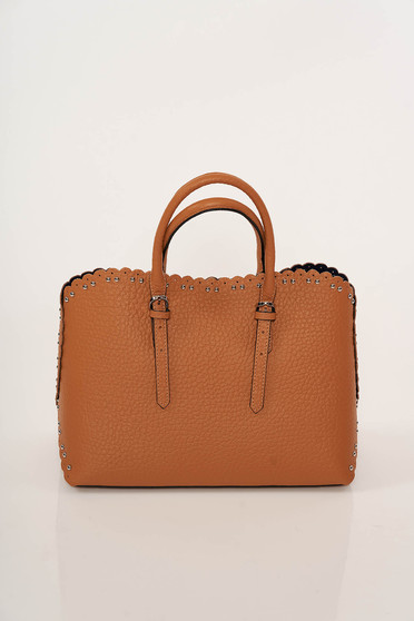Bricky office bag natural leather with metallic spikes short handles