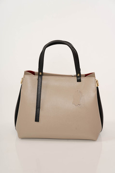 Cream bag elegant from ecological leather with thin straps