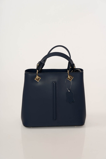 Darkblue office bag natural leather with metal accessories