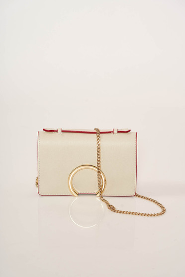 Cream occasional leather bag with metalic accessory