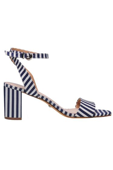 Darkblue sandals casual with stripes chunky heel with thin straps