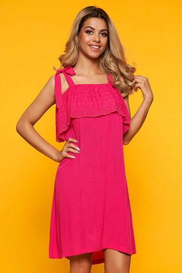 Darkpink dress casual flared naked shoulders with ruffles on the chest short cut