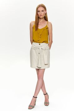 Peach skirt casual with button accessories accessorized with tied waistband short cut