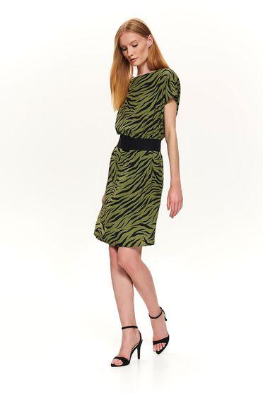 Green dress casual animal print with elastic waist short cut straight