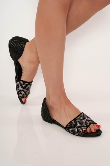 Black sandals casual low heel