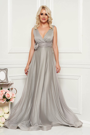 Silver dress occasional long cloche with push-up cups with deep cleavage
