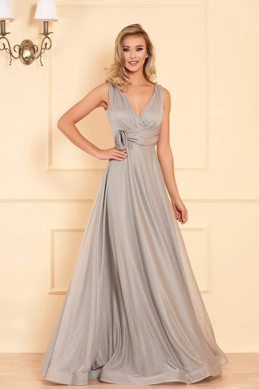 Silver long occasional cloche dress with push-up cups with deep cleavage