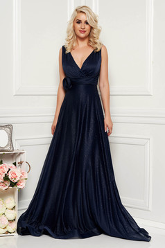Darkblue dress occasional long cloche with push-up cups with deep cleavage