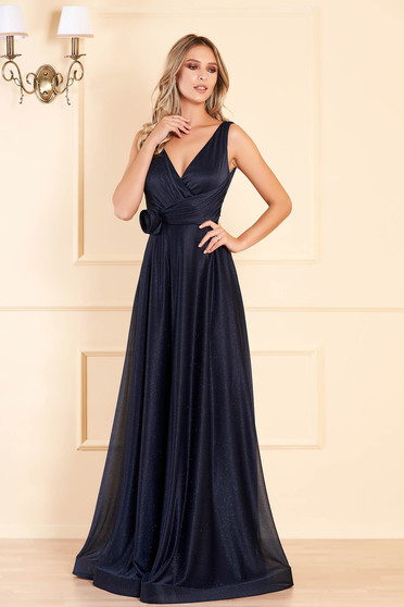 Darkblue long occasional cloche dress with push-up cups with deep cleavage