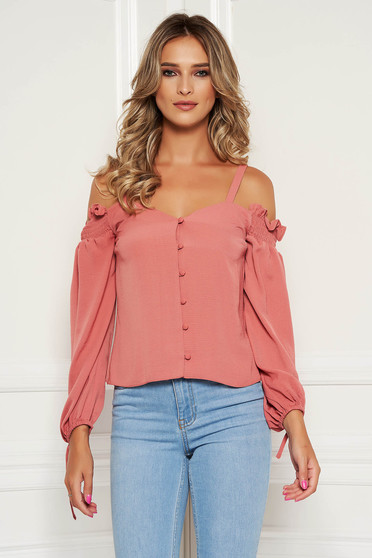 StarShinerS bricky top shirt casual flared short cut with straps naked shoulders with button accessories