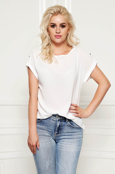 StarShinerS white women`s blouse elegant flared thin fabric transparent fabric