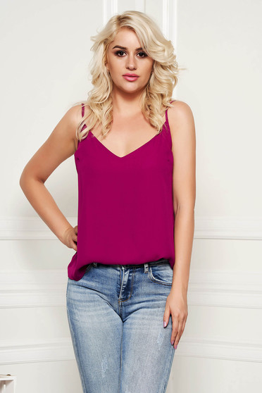 StarShinerS purple top shirt casual thin braces adjustable straps with v-neckline