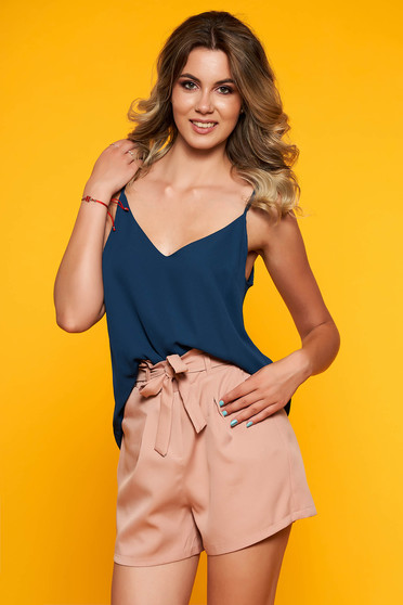 StarShinerS darkblue top shirt casual thin straps adjustable straps with v-neckline