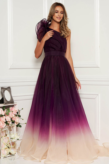 Ana Radu purple luxurious long cloche dress with inside lining accessorized with tied waistband one shoulder