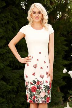 Ivory dress pencil midi with floral print elegant soft fabric