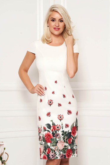 Ivory dress pencil midi with floral print elegant soft fabric