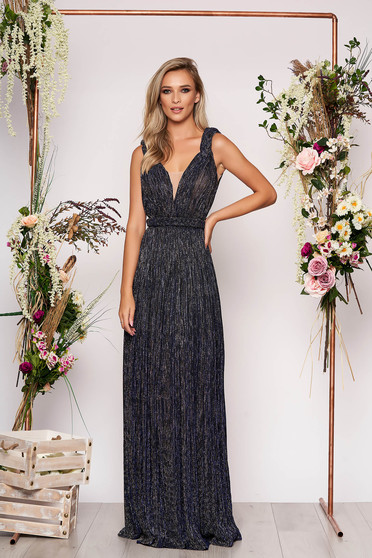 Darkblue occasional cloche dress with push-up cups with v-neckline