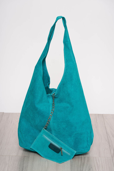 Turquoise casual bag medium handles with an accessory