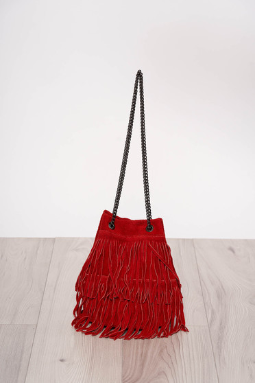 Red casual bag with fringes long chain handle
