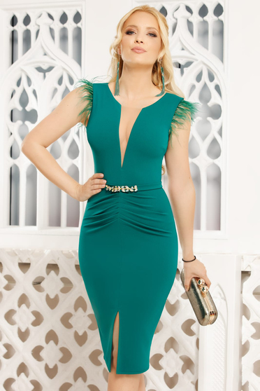 Green dress elegant midi pencil with v-neckline feather details
