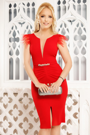 Red dress elegant midi pencil with v-neckline feather details