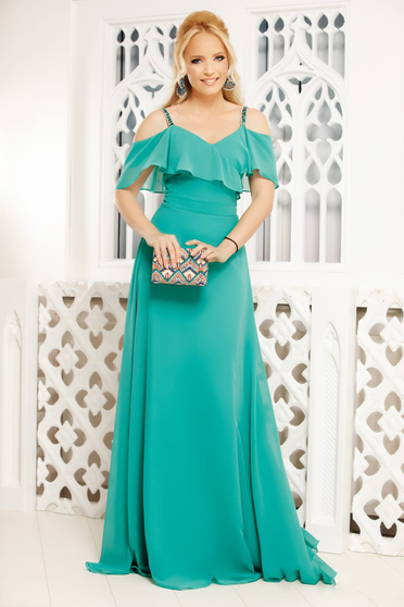 Green dress occasional long cloche from veil fabric with straps with ruffles on the chest