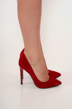Red elegant shoes natural leather slightly pointed toe tip with high heels