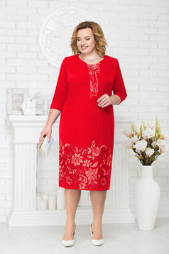 Red dress occasional elegant straight midi with small beads embellished details with 3/4 sleeves