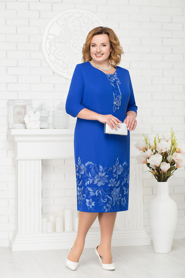 Blue dress occasional elegant straight midi with small beads embellished details with 3/4 sleeves