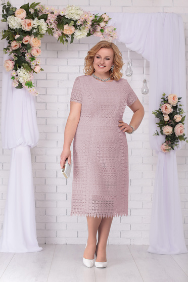 Lila dress occasional elegant straight midi with laced sleeves with padded shoulders