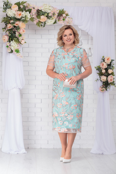Mint dress occasional elegant straight midi laced with rounded cleavage