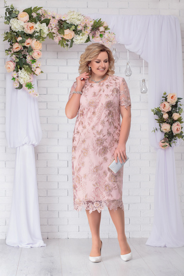 Lightpink dress occasional elegant straight midi with padded shoulders with laced sleeves with rounded cleavage