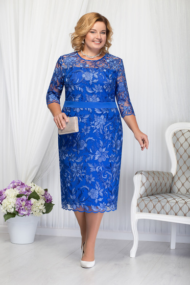Blue dress occasional elegant straight midi with 3/4 sleeves laced