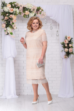 Cream dress occasional elegant straight midi laced with padded shoulders