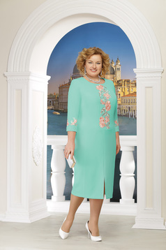 Mint dress occasional elegant straight midi frontal slit with 3/4 sleeves