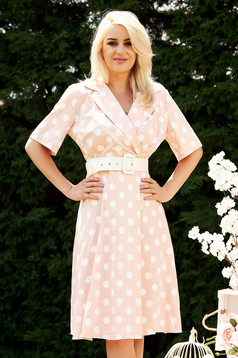 Peach dress daily dots print midi cloche wrap over front short sleeves