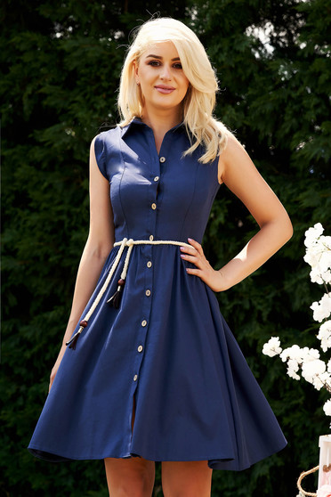 Darkblue dress casual daily with a collar cloche midi sleeveless is fastened around the waist with a ribbon