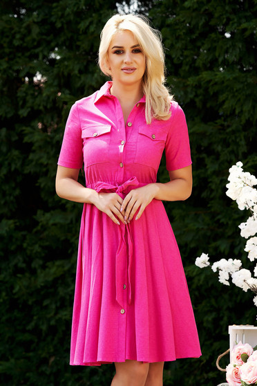 Pink dress casual cloche accessorized with tied waistband with elastic waist with front pockets