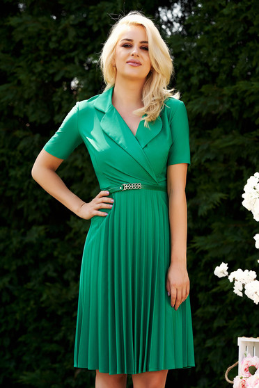 Green dress elegant cloche midi daily folded up wrap over front