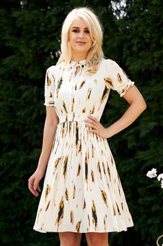 White dress daily elastic waist folded up airy fabric cloche midi