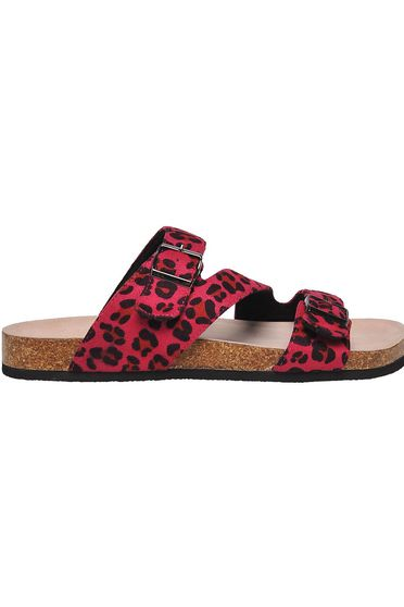 Pink slippers casual with buckles accessories animal print